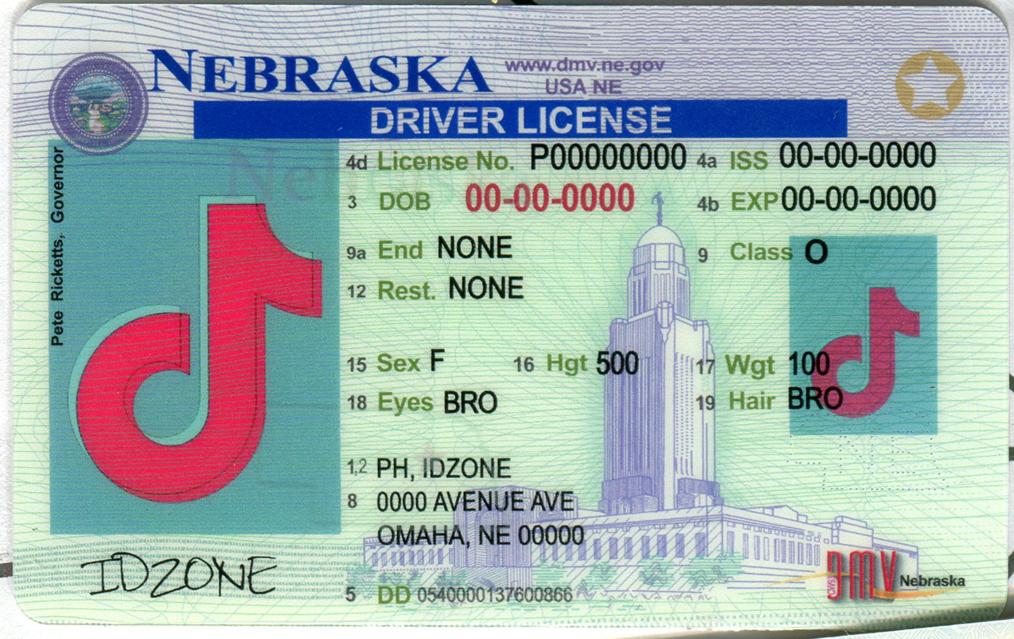 NEBRASKA Scannable fake id