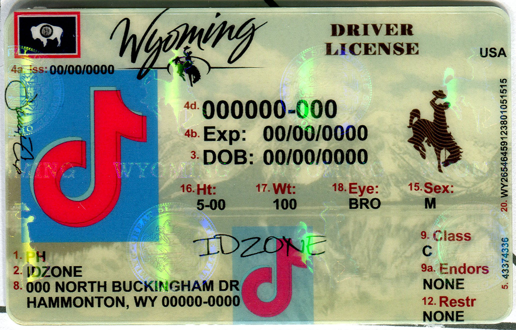 WYOMING Scannable fake id
